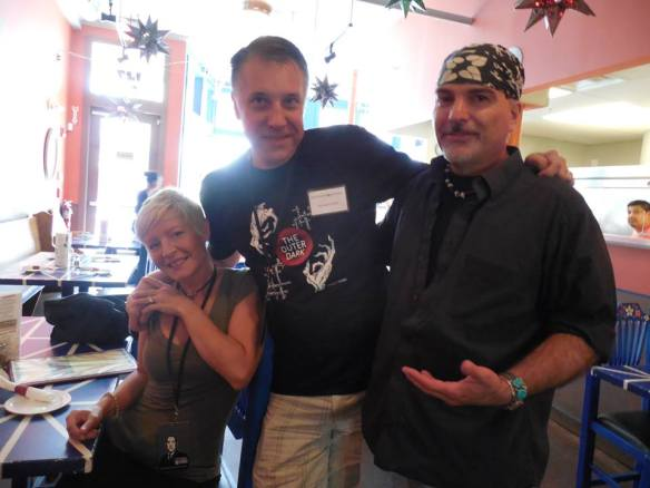 Lena Griffin, me and Scott Nicolay at Viva Mexico Cantina breakfast