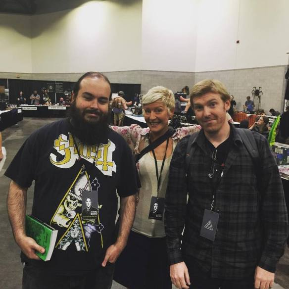Lena with Charles (left) and Sean (right) of Miskatonic Musings podcast